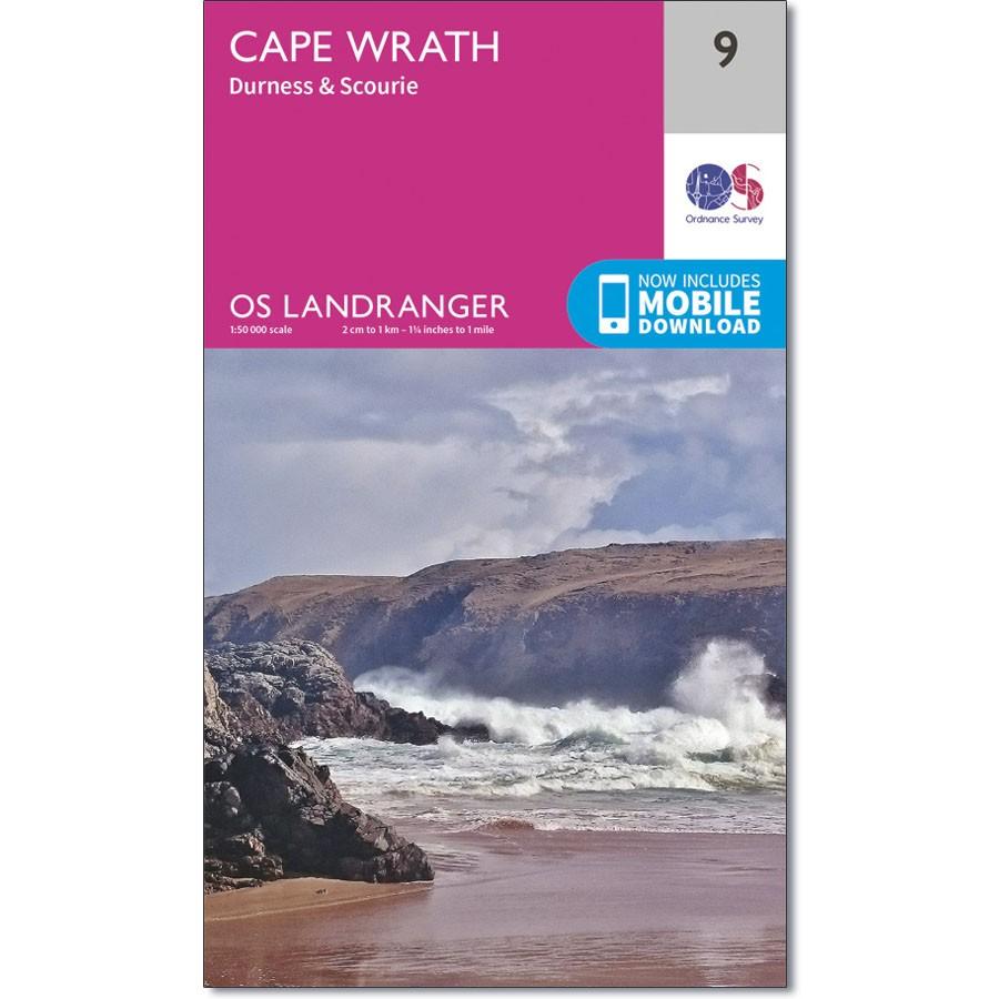 LR-009  Cape Wrath, Durness + Scourie | topografische wandelkaart 9780319261071  Ordnance Survey Landranger Maps 1:50.000  Wandelkaarten de Schotse Hooglanden (ten noorden van Glasgow / Edinburgh)
