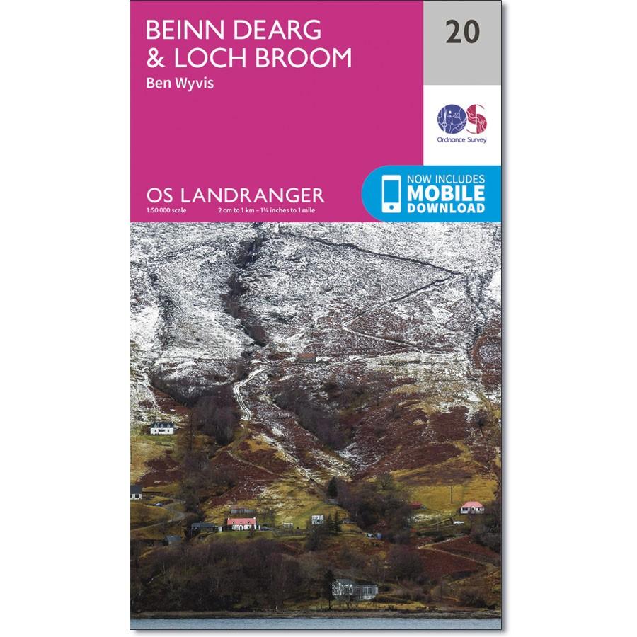 LR-020  Benin Dearg | topografische wandelkaart 9780319261187  Ordnance Survey Landranger Maps 1:50.000  Wandelkaarten de Schotse Hooglanden (ten noorden van Glasgow / Edinburgh)