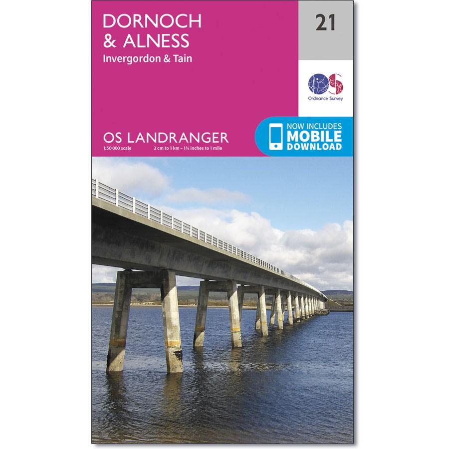 LR-021  Dornoch, Alness, Invergordon + Tain | topografische wandelkaart 9780319261194  Ordnance Survey Landranger Maps 1:50.000  Wandelkaarten de Schotse Hooglanden (ten noorden van Glasgow / Edinburgh)