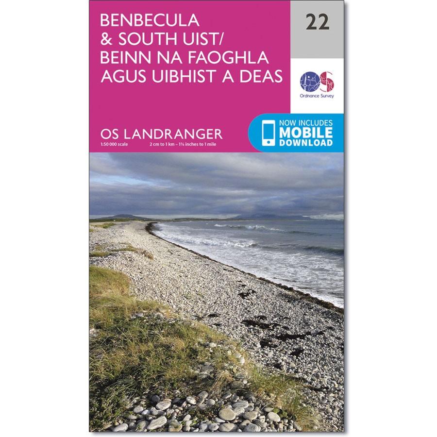 LR-022  Benbecula + South Uist | topografische wandelkaart 9780319261200  Ordnance Survey Landranger Maps 1:50.000  Wandelkaarten Skye & the Western Isles