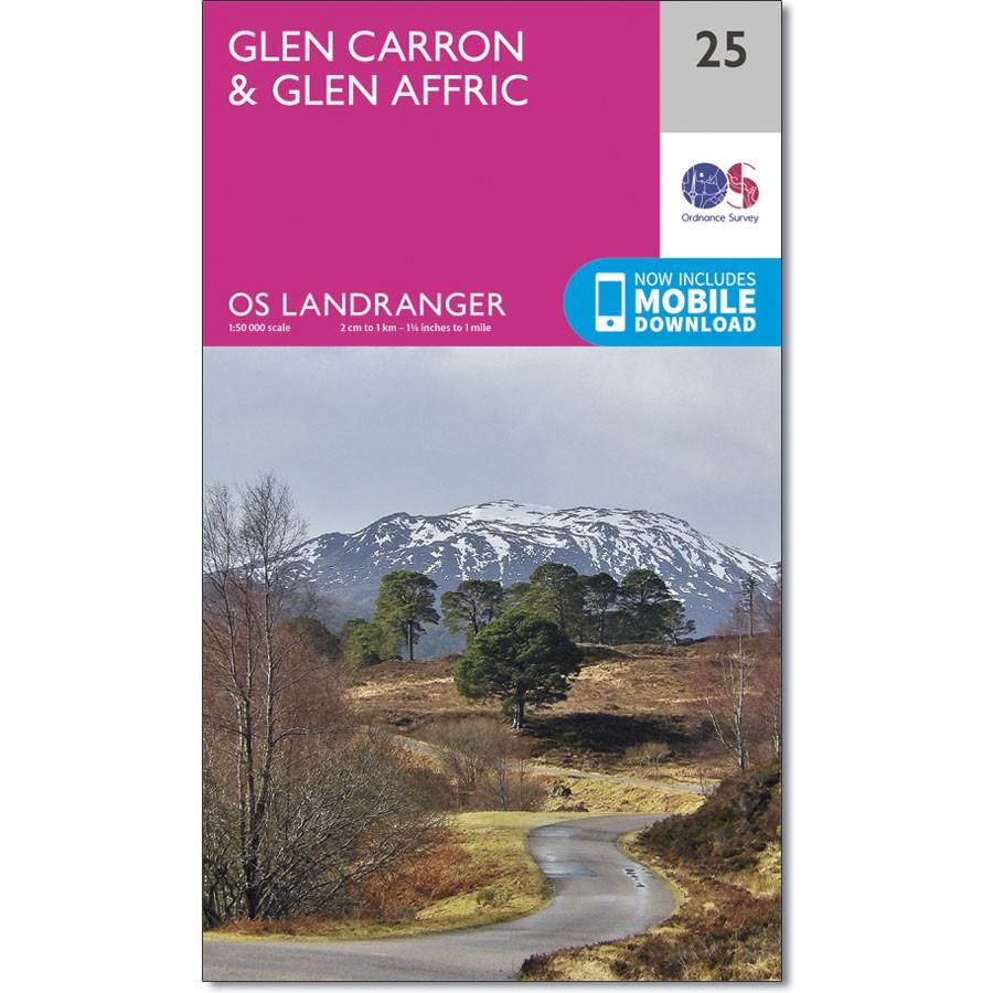 LR-025  Glen Carron + Glen Affric   topografische wandelkaart 9780319261231  Ordnance Survey Landranger Maps 1:50.000  Wandelkaarten de Schotse Hooglanden (ten noorden van Glasgow / Edinburgh)