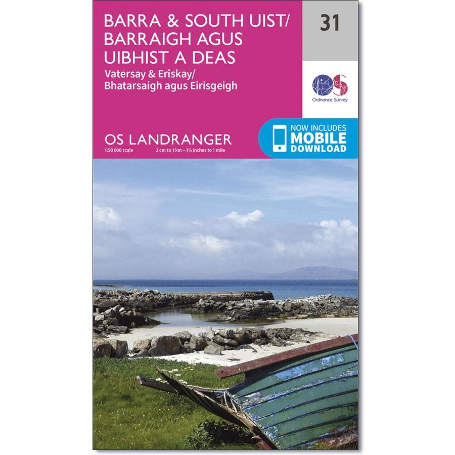 LR-031  Barra + South Uist, Vatersay + Eriskay   topografische wandelkaart 9780319261293  Ordnance Survey Landranger Maps 1:50.000  Wandelkaarten Skye & the Western Isles