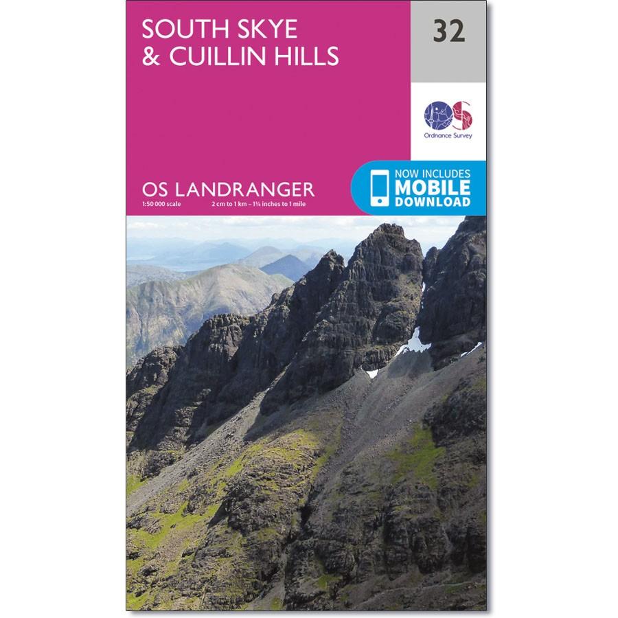 LR-032  South Skye & Cuillin Hills   topografische wandelkaart 9780319261309  Ordnance Survey Landranger Maps 1:50.000  Wandelkaarten Skye & the Western Isles