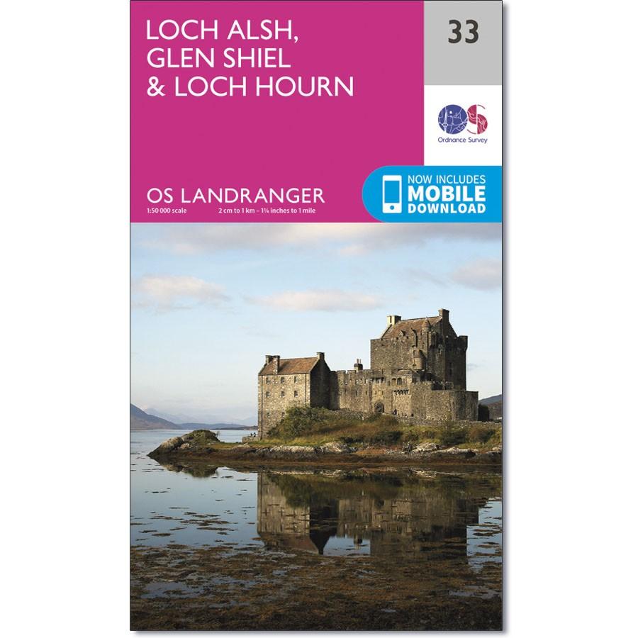 LR-033  Loch Alsh, Glen Shiel, Loch Hourn   topografische wandelkaart 9780319261316  Ordnance Survey Landranger Maps 1:50.000  Wandelkaarten de Schotse Hooglanden (ten noorden van Glasgow / Edinburgh)