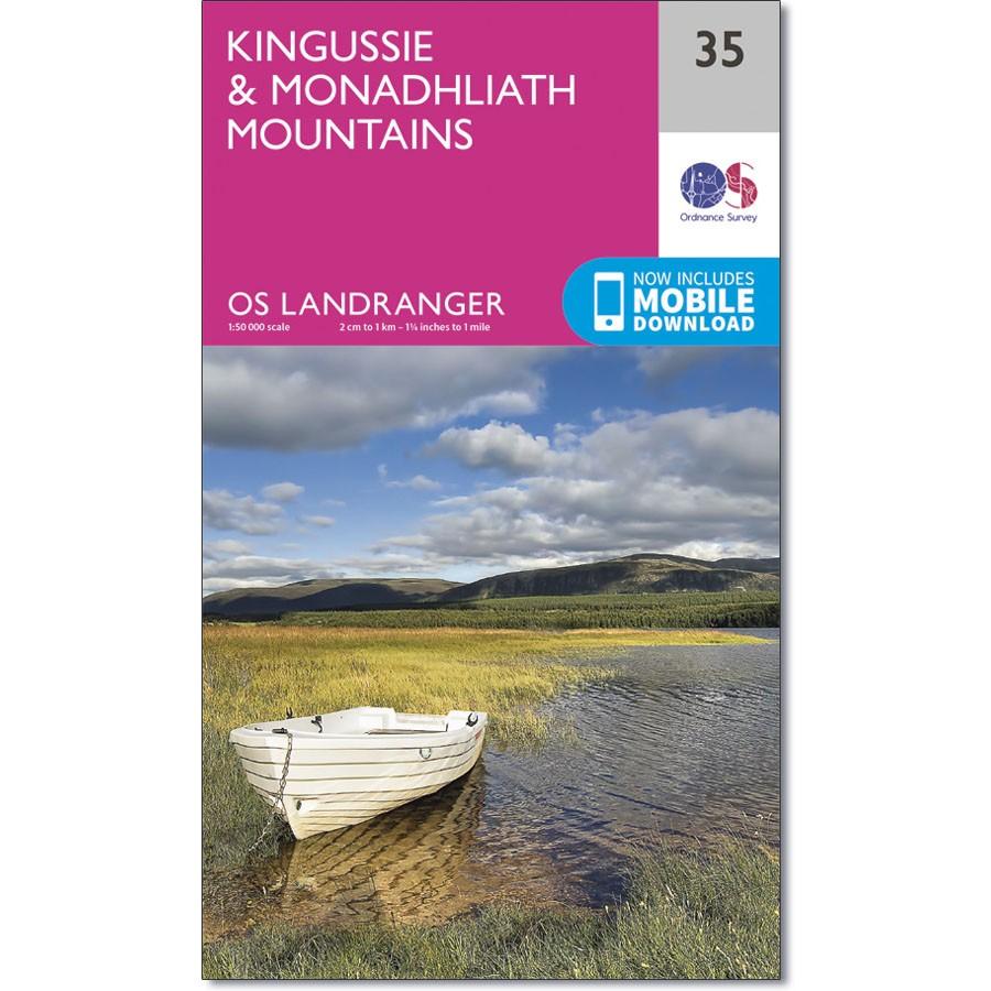 LR-035  Kingussie + Monadhliath Mts. | topografische wandelkaart 9780319261330  Ordnance Survey Landranger Maps 1:50.000  Wandelkaarten de Schotse Hooglanden (ten noorden van Glasgow / Edinburgh)