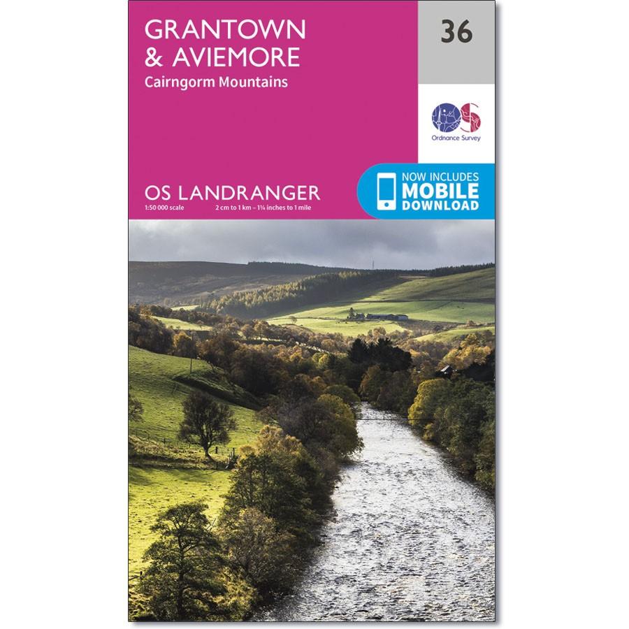 LR-036  Grantown, Aviemore & Cairngorm | topografische wandelkaart 9780319261347  Ordnance Survey Landranger Maps 1:50.000  Wandelkaarten de Schotse Hooglanden (ten noorden van Glasgow / Edinburgh)