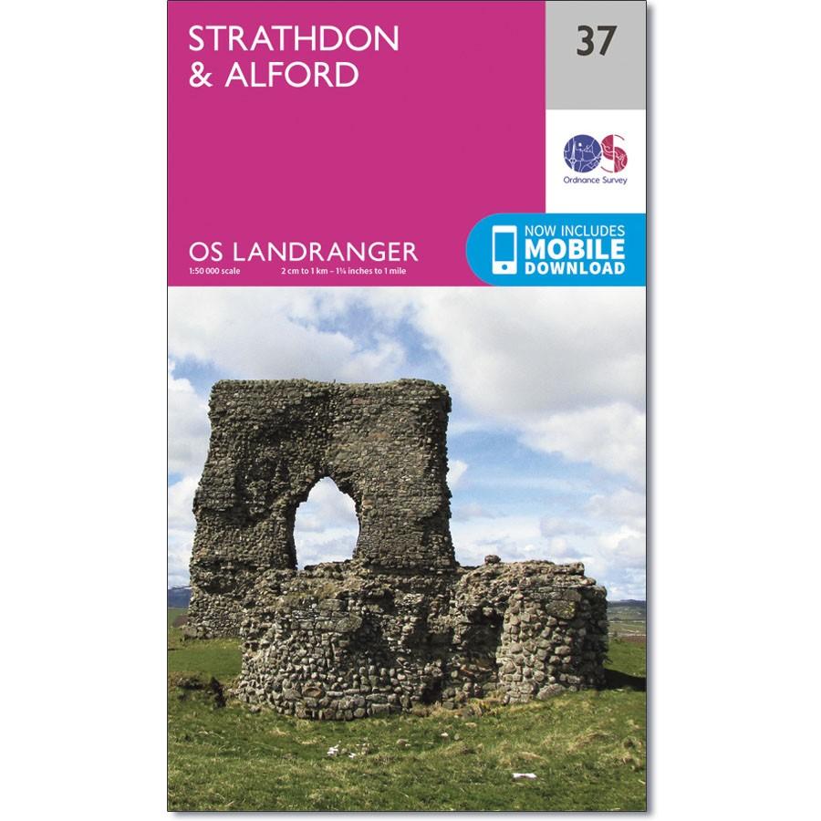LR-037  Strathdon, Alford | topografische wandelkaart 9780319261354  Ordnance Survey Landranger Maps 1:50.000  Wandelkaarten de Schotse Hooglanden (ten noorden van Glasgow / Edinburgh)