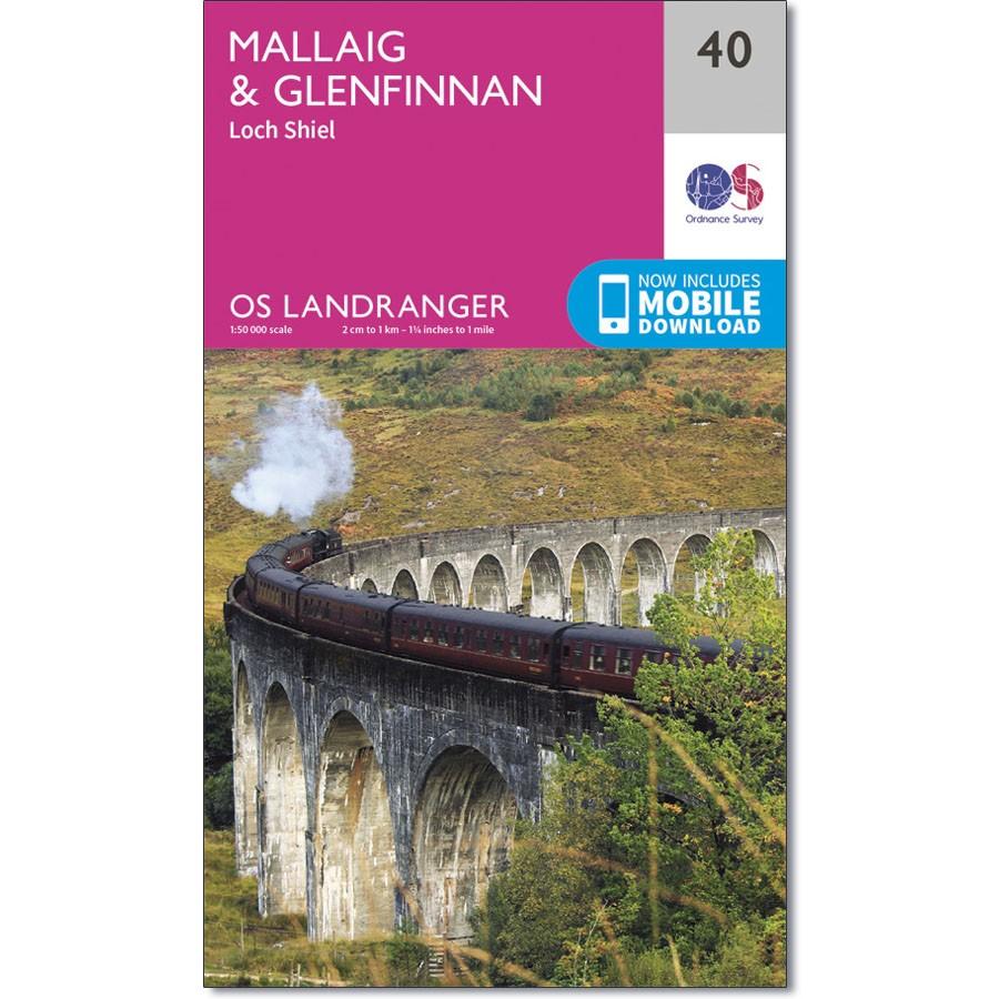 LR-040  Mallaig + Glenfinnan, Loch Shiel | topografische wandelkaart 9780319261385  Ordnance Survey Landranger Maps 1:50.000  Wandelkaarten de Schotse Hooglanden (ten noorden van Glasgow / Edinburgh)