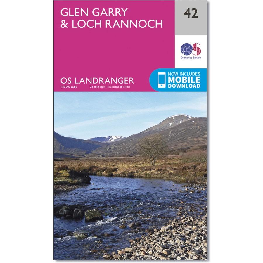LR-042  Glen Garry, Loch Rannoch | topografische wandelkaart 9780319261408  Ordnance Survey Landranger Maps 1:50.000  Wandelkaarten de Schotse Hooglanden (ten noorden van Glasgow / Edinburgh)