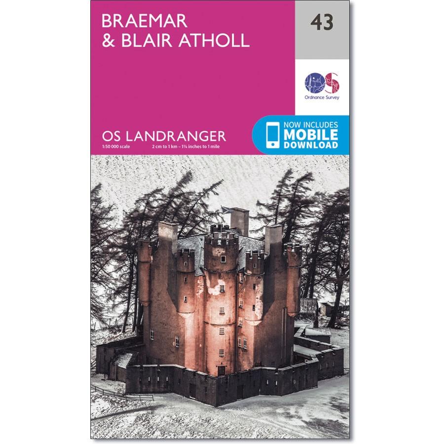 LR-043  Braemar to Blair Atholl | topografische wandelkaart 9780319261415  Ordnance Survey Landranger Maps 1:50.000  Wandelkaarten de Schotse Hooglanden (ten noorden van Glasgow / Edinburgh)