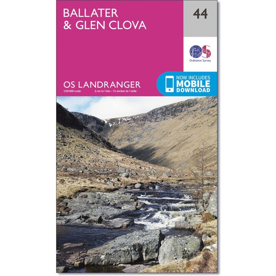 LR-044  Ballater, Glen Clova   topografische wandelkaart 9780319261422  Ordnance Survey Landranger Maps 1:50.000  Wandelkaarten de Schotse Hooglanden (ten noorden van Glasgow / Edinburgh)