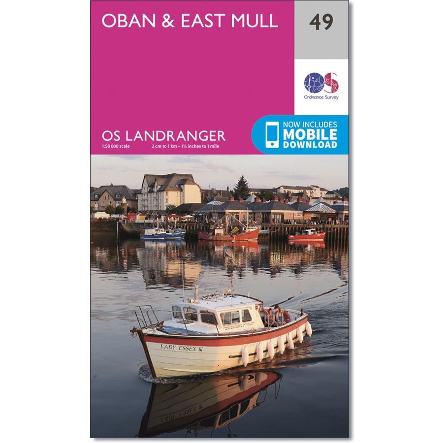 LR-049  Oban + East Mull | topografische wandelkaart 9780319261477  Ordnance Survey Landranger Maps 1:50.000  Wandelkaarten de Schotse Hooglanden (ten noorden van Glasgow / Edinburgh)