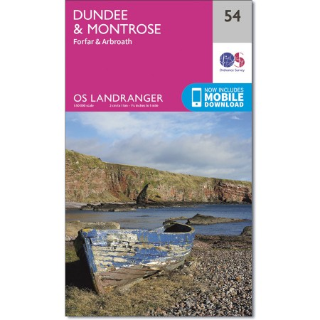 LR-054 Dundee and Montrose, Forfar and Arbroath | topografische wandelkaart 9780319261521  Ordnance Survey Landranger Maps 1:50.000  Wandelkaarten de Schotse Hooglanden (ten noorden van Glasgow / Edinburgh)