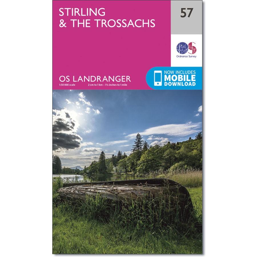 LR-057  Stirling + the Trossachs | topografische wandelkaart 9780319261552  Ordnance Survey Landranger Maps 1:50.000  Wandelkaarten de Schotse Hooglanden (ten noorden van Glasgow / Edinburgh)