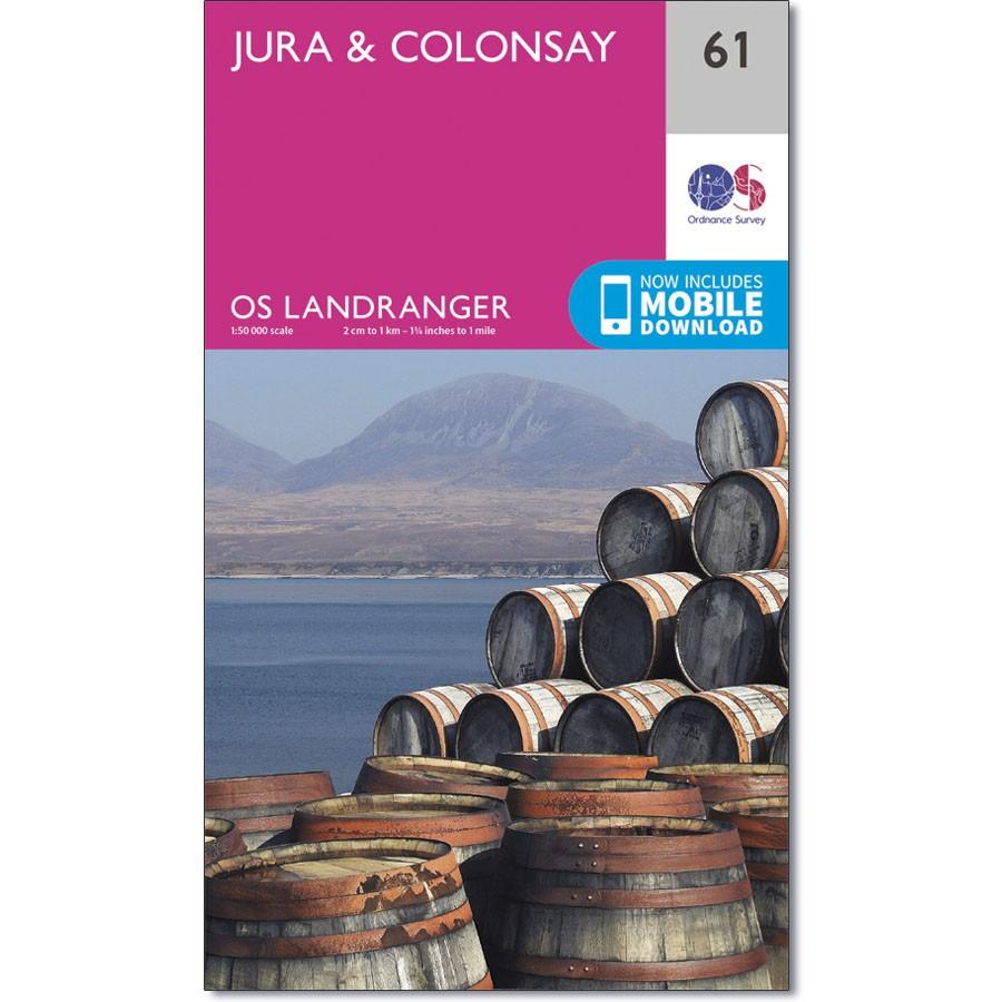 LR-061  Jura + Colonsay   topografische wandelkaart 9780319261590  Ordnance Survey Landranger Maps 1:50.000  Wandelkaarten Skye & the Western Isles