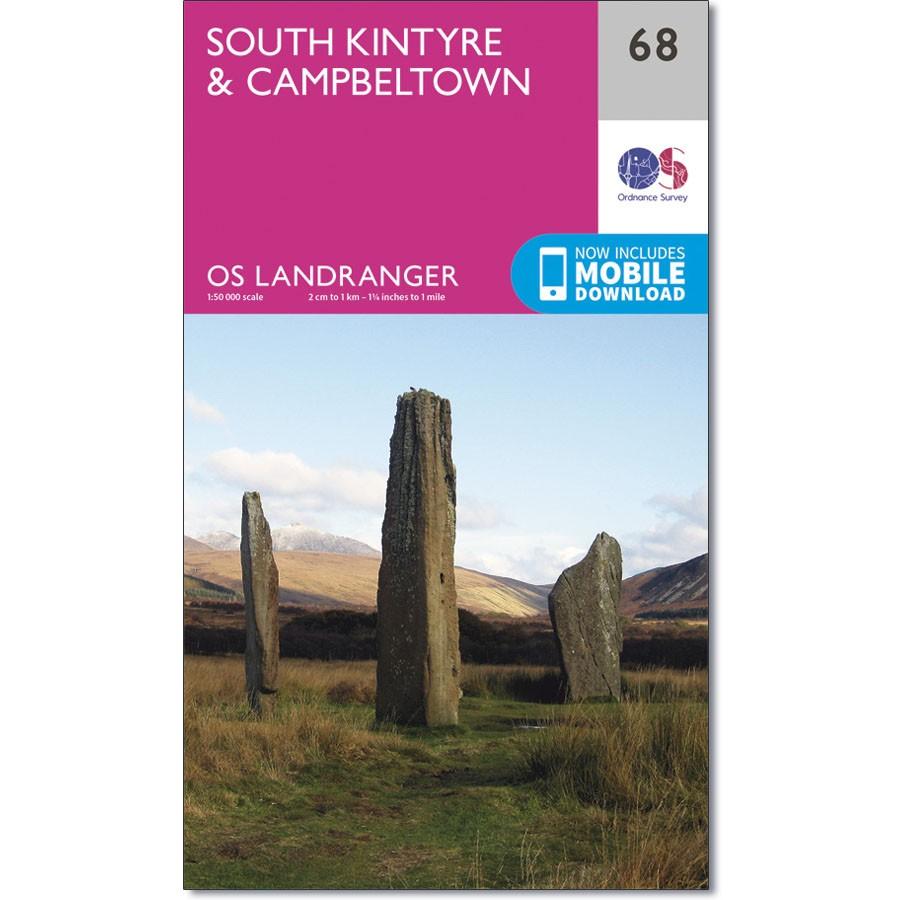 LR-068  South Kintyre + Campbeltown | topografische wandelkaart 9780319261668  Ordnance Survey Landranger Maps 1:50.000  Wandelkaarten Skye & the Western Isles