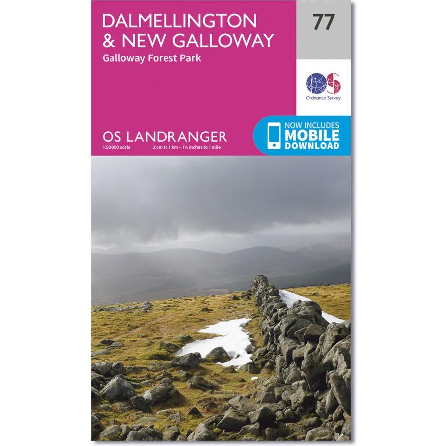 LR-077  Dalmellington to New Galloway | topografische wandelkaart 9780319261750  Ordnance Survey Landranger Maps 1:50.000  Wandelkaarten Zuid-Schotland