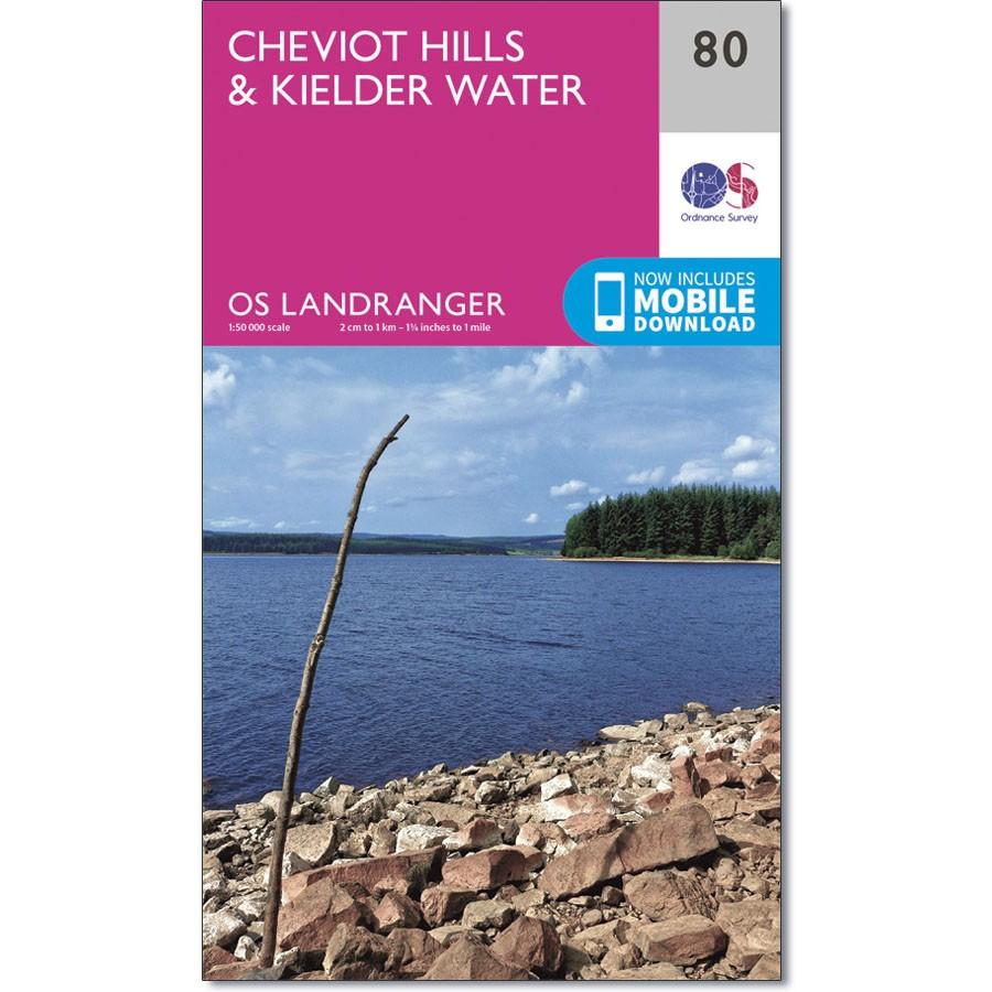 LR-080  Cheviot Hills + Kielder Forest | topografische wandelkaart 9780319261781  Ordnance Survey Landranger Maps 1:50.000  Wandelkaarten Northumberland, Yorkshire Dales & Moors, Peak District, Isle of Man