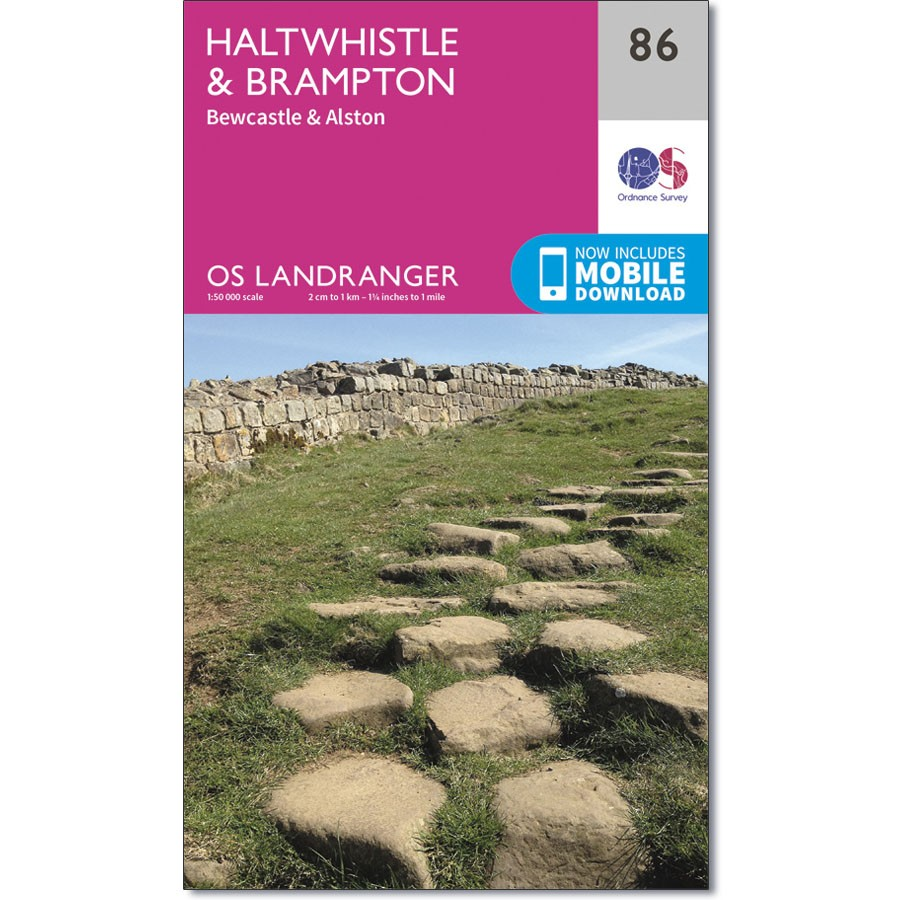 LR-086  Haltwhistle, Bewcastle + Alston | topografische wandelkaart 9780319261842  Ordnance Survey Landranger Maps 1:50.000  Wandelkaarten Northumberland, Yorkshire Dales & Moors, Peak District, Isle of Man
