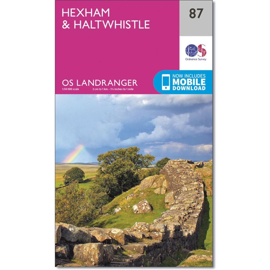 LR-087  Hexham, Haltwhistle   topografische wandelkaart 9780319261859  Ordnance Survey Landranger Maps 1:50.000  Wandelkaarten Northumberland, Yorkshire Dales & Moors, Peak District, Isle of Man