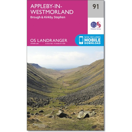 LR-091  Appleby-in-Westmoreland | topografische wandelkaart 9780319261897  Ordnance Survey Landranger Maps 1:50.000  Wandelkaarten Lake District