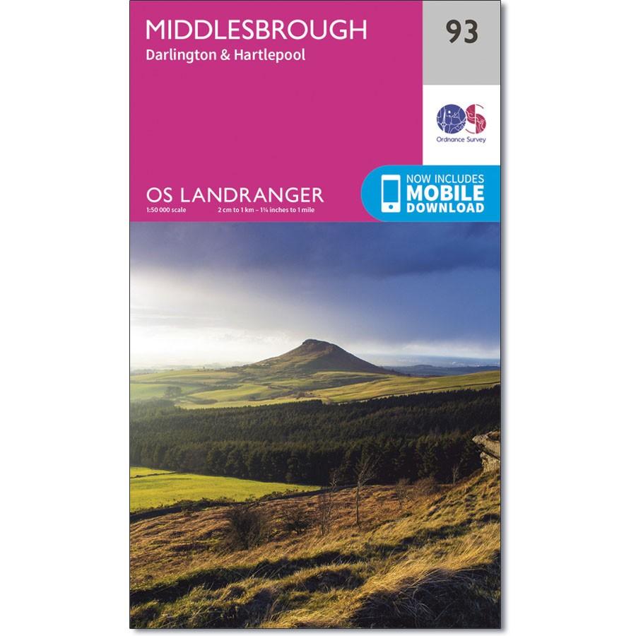 LR-093  Middlesbrough + Darlington, Hartlepool | topografische wandelkaart 9780319261910  Ordnance Survey Landranger Maps 1:50.000  Wandelkaarten Northumberland, Yorkshire Dales & Moors, Peak District, Isle of Man