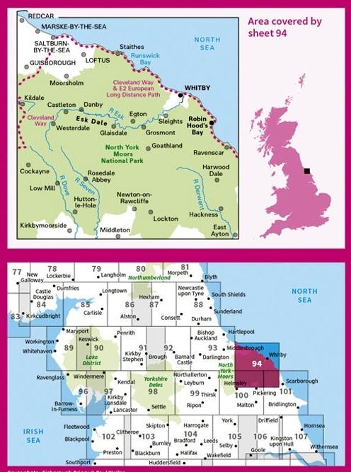 LR-094  Whitby, Esk Dale, Robin Hood's Bay | topografische wandelkaart 9780319261927  Ordnance Survey Landranger Maps 1:50.000  Wandelkaarten Northumberland, Yorkshire Dales & Moors, Peak District, Isle of Man