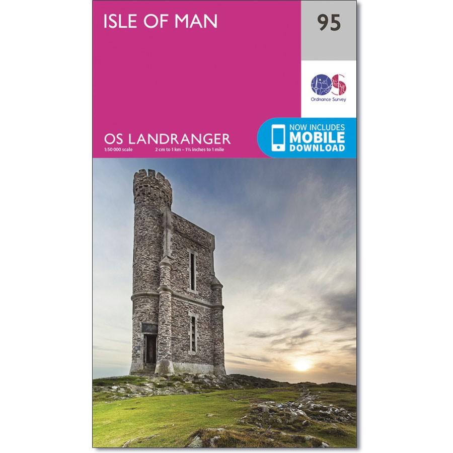 LR-095  Isle of Man | topografische wandelkaart 9780319261934  Ordnance Survey Landranger Maps 1:50.000  Wandelkaarten Northumberland, Yorkshire Dales & Moors, Peak District, Isle of Man