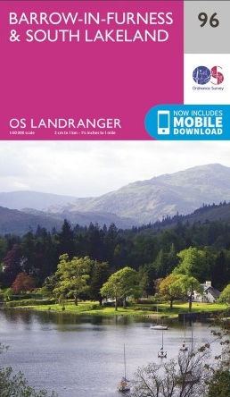 LR-096  Barrow-in-Furness + South Lakeland | topografische wandelkaart 9780319261941  Ordnance Survey Landranger Maps 1:50.000  Wandelkaarten Lake District