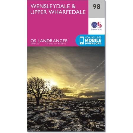 LR-098  Wensleydale + Upper Wharfedale | topografische wandelkaart 9780319261965  Ordnance Survey Landranger Maps 1:50.000  Wandelkaarten Northumberland, Yorkshire Dales & Moors, Peak District, Isle of Man