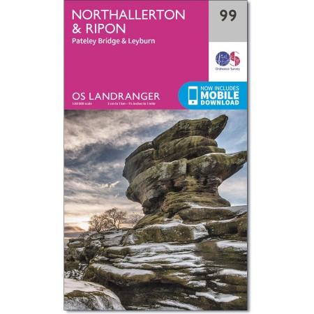 LR-099  Northallerton, Ripon, Pateley | topografische wandelkaart 9780319261972  Ordnance Survey Landranger Maps 1:50.000  Wandelkaarten Northumberland, Yorkshire Dales & Moors, Peak District, Isle of Man