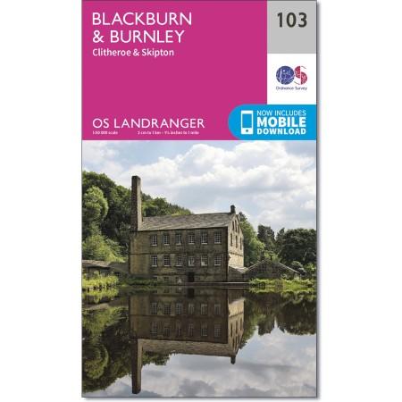 LR-103  Blackburn, Burnley | topografische wandelkaart 9780319262016  Ordnance Survey Landranger Maps 1:50.000  Wandelkaarten Northumberland, Yorkshire Dales & Moors, Peak District, Isle of Man