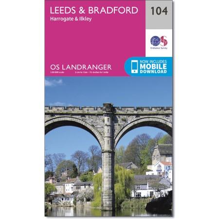 LR-104  Leeds, Bradford + Harrogate | topografische wandelkaart 9780319262023  Ordnance Survey Landranger Maps 1:50.000  Wandelkaarten Northumberland, Yorkshire Dales & Moors, Peak District, Isle of Man