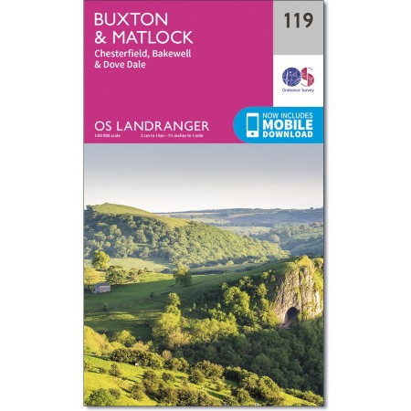LR-119 Buxton + Matlock | topografische wandelkaart 9780319262177  Ordnance Survey Landranger Maps 1:50.000  Wandelkaarten Midlands, Cotswolds, Oxford