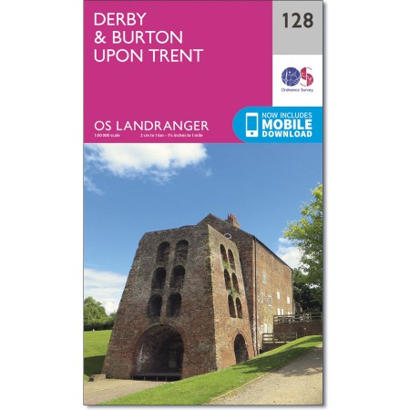 LR-128  Derby | topografische wandelkaart 9780319262269  Ordnance Survey Landranger Maps 1:50.000  Wandelkaarten Midlands, Cotswolds, Oxford