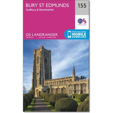 LR-155  Bury St.Edmunds + Sudbury | topografische wandelkaart 9780319262535  Ordnance Survey Landranger Maps 1:50.000  Wandelkaarten Lincolnshire, Norfolk, Suffolk, Cambridge