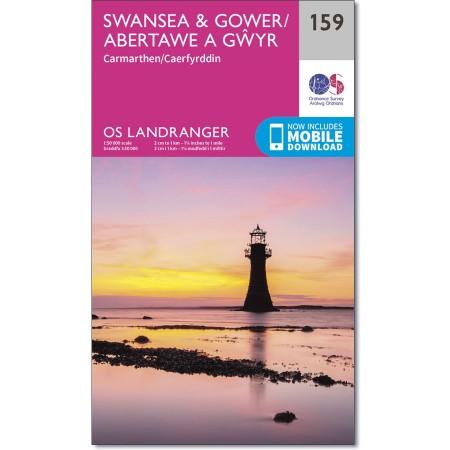 LR-159  Swansea, Gower | topografische wandelkaart 9780319262573  Ordnance Survey Landranger Maps 1:50.000  Wandelkaarten Zuid-Wales, Pembrokeshire, Brecon Beacons