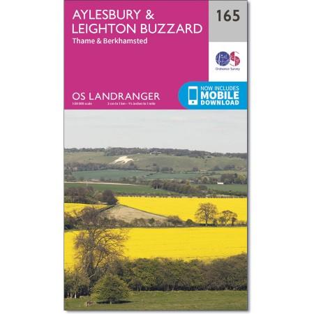 LR-165  Aylesbury + Leighton Buzzard | topografische wandelkaart 9780319262634  Ordnance Survey Landranger Maps 1:50.000  Wandelkaarten Midlands, Cotswolds, Oxford