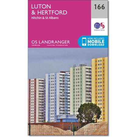 LR-166  Luton, Hertford   topografische wandelkaart 9780319262641  Ordnance Survey Landranger Maps 1:50.000  Wandelkaarten Midlands, Cotswolds, Oxford