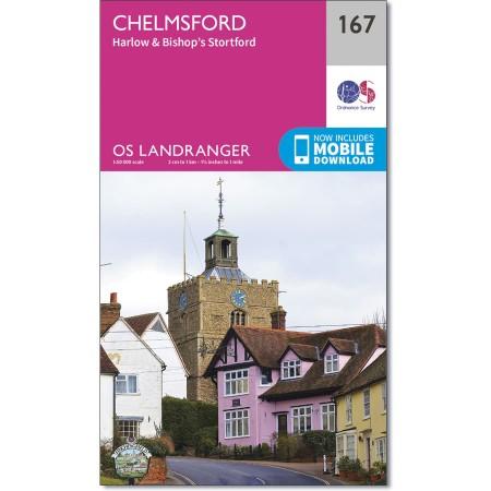LR-167  Chelmsford | topografische wandelkaart 9780319262658  Ordnance Survey Landranger Maps 1:50.000  Wandelkaarten Lincolnshire, Norfolk, Suffolk, Cambridge