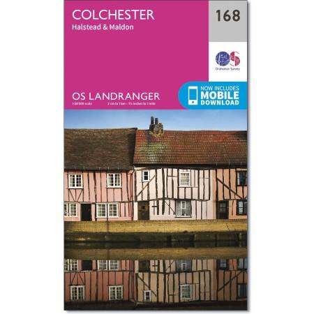 LR-168  Colchester + The Blackwater | topografische wandelkaart 9780319262665  Ordnance Survey Landranger Maps 1:50.000  Wandelkaarten Lincolnshire, Norfolk, Suffolk, Cambridge
