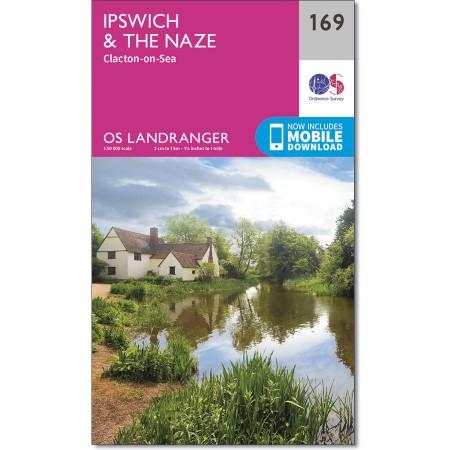 LR-169  Ipswich + The Naze   topografische wandelkaart 9780319262672  Ordnance Survey Landranger Maps 1:50.000  Wandelkaarten Lincolnshire, Norfolk, Suffolk, Cambridge