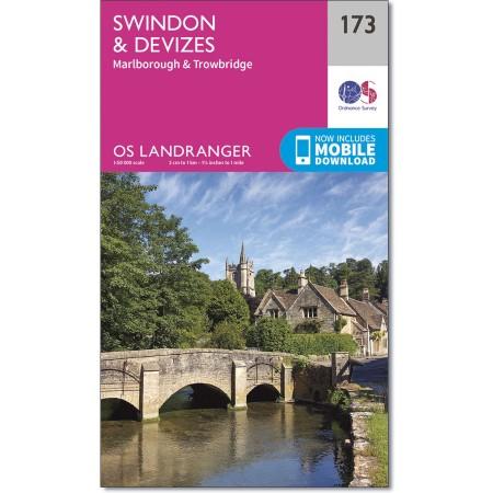 LR-173  Swindon, Devizes   topografische wandelkaart 9780319262719  Ordnance Survey Landranger Maps 1:50.000  Wandelkaarten Midlands, Cotswolds, Oxford