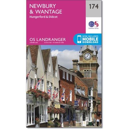 LR-174  Newbury, Wantage | topografische wandelkaart 9780319262726  Ordnance Survey Landranger Maps 1:50.000  Wandelkaarten Midlands, Cotswolds, Oxford
