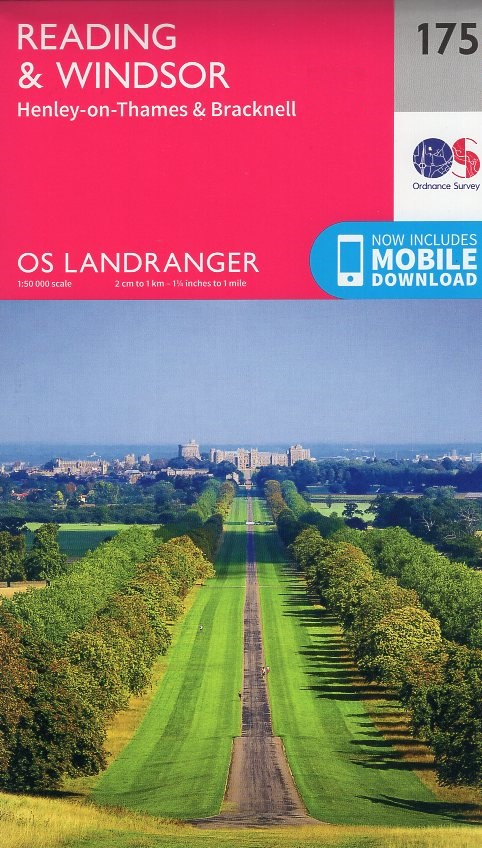LR-175  Reading, Windsor | topografische wandelkaart 9780319262733  Ordnance Survey Landranger Maps 1:50.000  Wandelkaarten Midlands, Cotswolds, Oxford