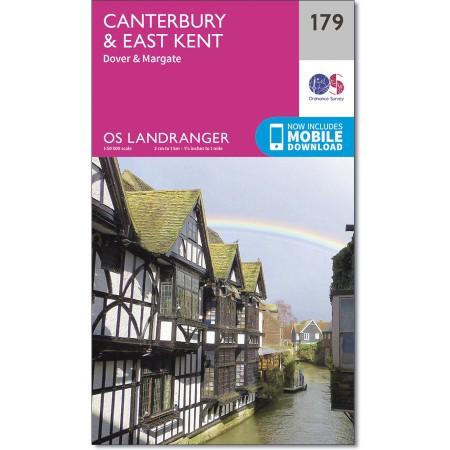LR-179  Canterbury & East Kent | topografische wandelkaart 9780319262771  Ordnance Survey Landranger Maps 1:50.000  Wandelkaarten Zuidoost-Engeland, Kent, Sussex, Isle of Wight