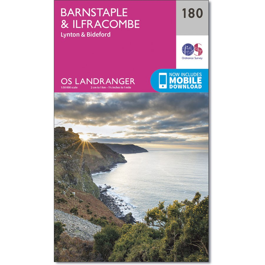 LR-180  Barnstaple + Ilfracombe | topografische wandelkaart 9780319262788  Ordnance Survey Landranger Maps 1:50.000  Wandelkaarten Zuidwest-Engeland, Cornwall, Devon, Somerset, Dorset