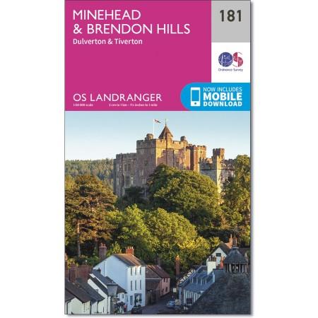 LR-181  Minehead + Brendon Hills | topografische wandelkaart 9780319262795  Ordnance Survey Landranger Maps 1:50.000  Wandelkaarten Cornwall, Devon, Somerset, Dorset