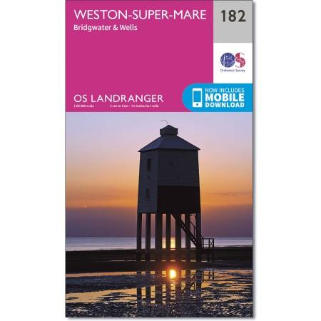 LR-182  Weston-Super-Mare | topografische wandelkaart 9780319262801  Ordnance Survey Landranger Maps 1:50.000  Wandelkaarten Cornwall, Devon, Somerset, Dorset