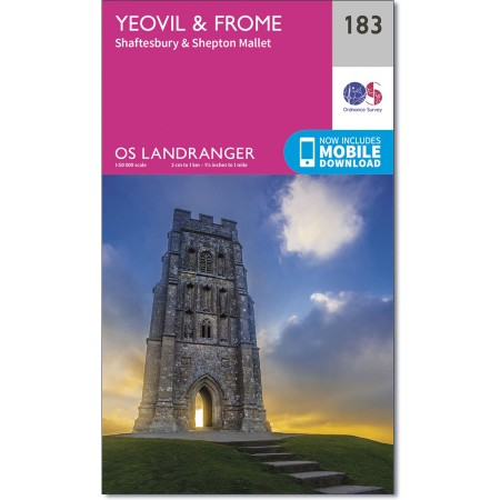 LR-183 Yeovil to Frome   topografische wandelkaart 9780319262818  Ordnance Survey Landranger Maps 1:50.000  Wandelkaarten Cornwall, Devon, Somerset, Dorset